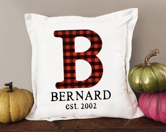 Buffalo Plaid Monogram Pillow