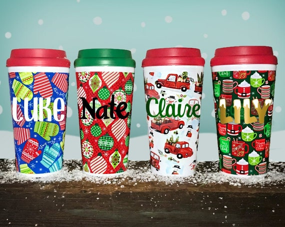 CUSTOM Holiday Travel Cup- Personalized 16oz