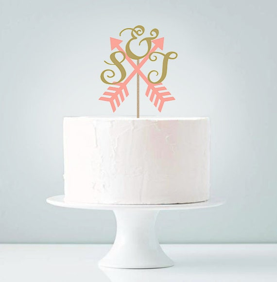 Arrow Initials Bridal Cake Topper