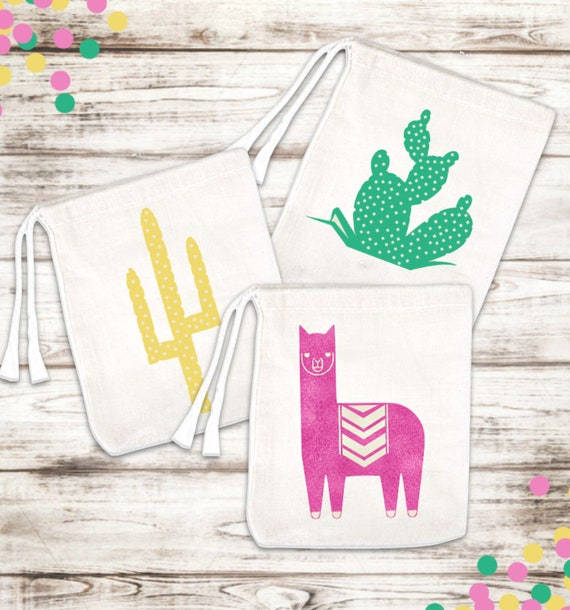 Set of 6 Llama and Cactus Favor Bags
