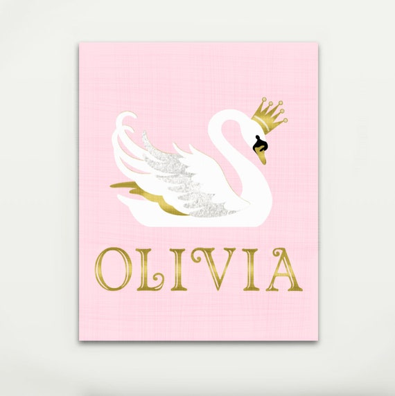 Canvas Swan Princess Personalized Name Glitter Sign