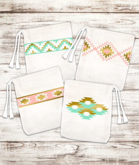 Set of 6 Tribal Print Favor Bags