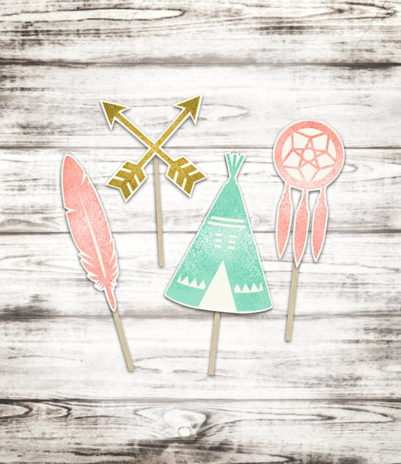 Tribal Print Cupcake Toppers- Set of 12