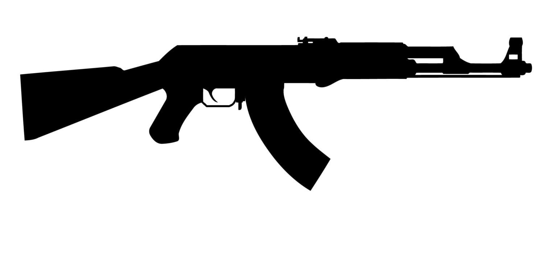 ak 47 silhouette gun sticker no background rifle is about etsy