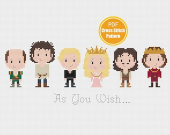 Princess Bride Inspired Cross stitch Pattern - As You Wish - PDF file Instant Download - Buttercup Westley