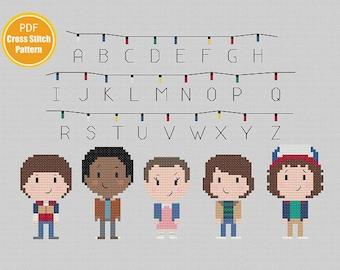 Stranger Things Cross stitch Pattern - Eleven Eggo Waffles - Upsidedown - PDF Instant Download