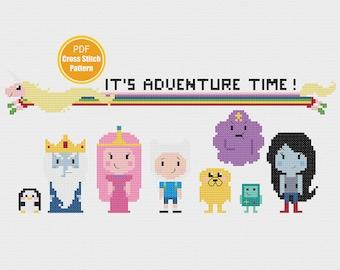 Adventure Time Cross stitch Pattern - Finn Jake - Princess Bubblegum - PDF Instant Download