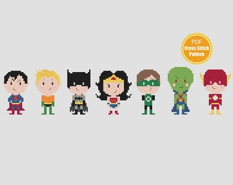 Justice League of America Cross Stitch Pattern - DC Comics - PDF Instant Download - Super Heroes Cross Stitch