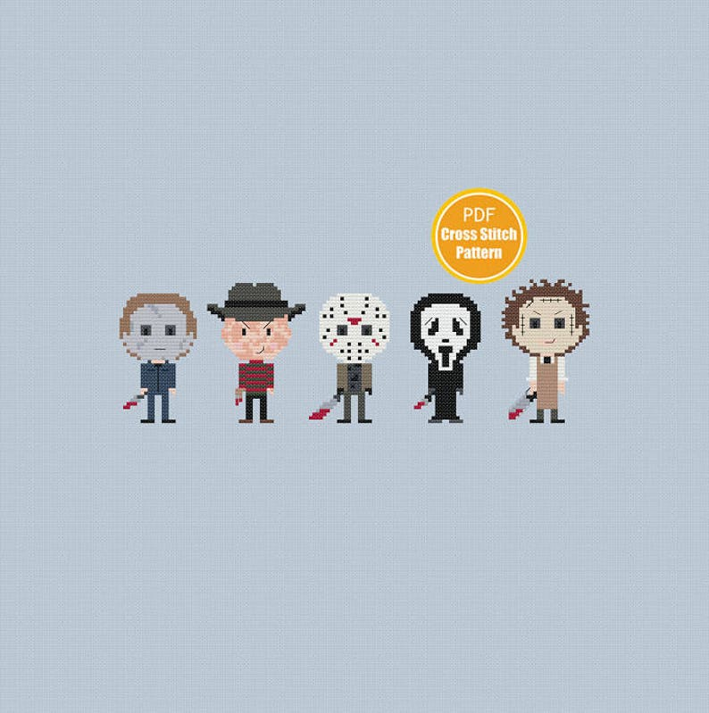Horror Movie Cross stitch Pattern - Slasher Killers - Jason Michael Myers  Freddy Krueger - PDF Instant Download