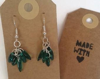Short green beaded earrings