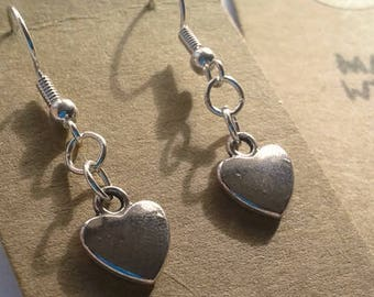 Small silver plated heart earrings