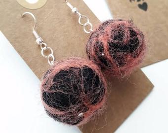 Pink felt ball earrings