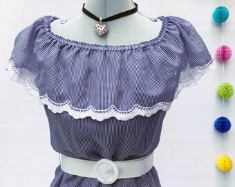 1970s Nautical Stripe Dress Bardot Prairie Gypsy Dress by RIEGER MODEN UK10 12 Germany Lace Trim Vintage Dress Summer