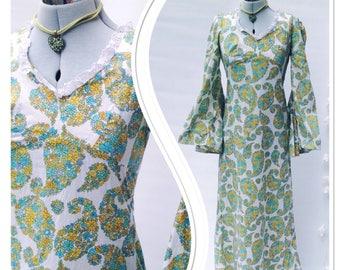 1960s 70s VINTAGE Floral Psyche Flare Angel Sleeve Hippy Maxi Dress Festival Hippie Boho Romantic Vibes