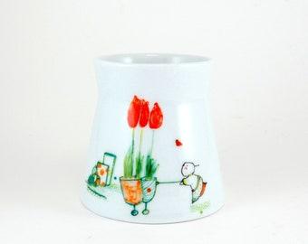 Porcelain Pen Holder,petit Pot à Crayons, Petit Vase en Porcelaine,Petit Pot,Vase fleuri rouge Tulipe,Floral Pot