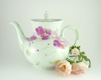 Porcelain Teapot,Ceramic Teapot,China Tea Maker,Teapot,Pink Flowers Decor