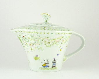 Teapot,Ceramic Teapot,Porcelain Teapot,Théière en Porcelaine,Multicolor,Tree, Birds Decor,Morpho Tale