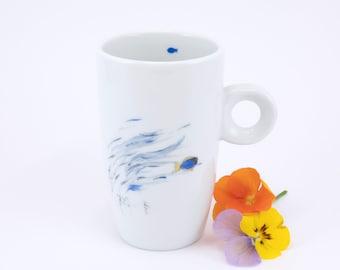 Hand painted Porcelain espresso Cup,Ceramic Mug,Gobelet en Porcelaine, Gift for Coffee Lover,Tasse à café, Fish Mug