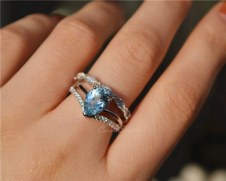 Sky Blue Topaz Ring Set Topaz With Delicate Art Deco Band Etsy