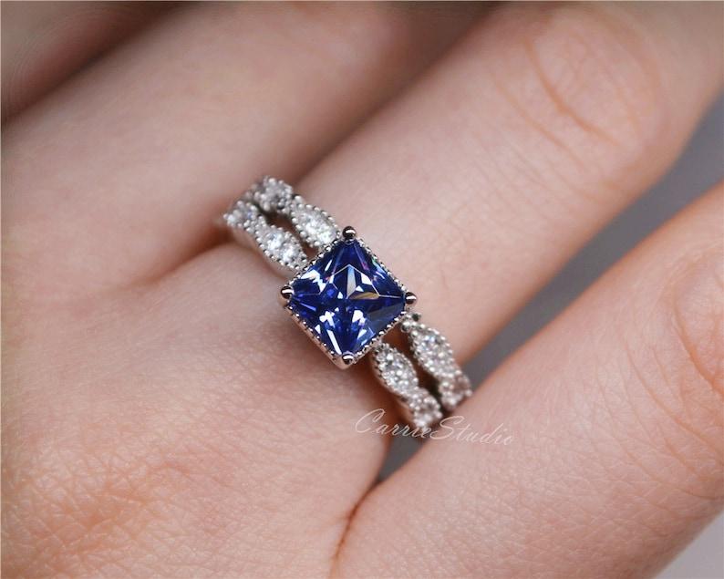 Princess Cut Tanzanite Ring Set Tanzanite Engagement Ring Set Wedding Ring Set Promise Anniversary Ring