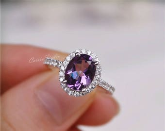 Halo Oval Natural Amethyst Ring Amethyst Engagement Ring/ Wedding Ring 925 Sterling Silver Ring Anniversary Ring Silver