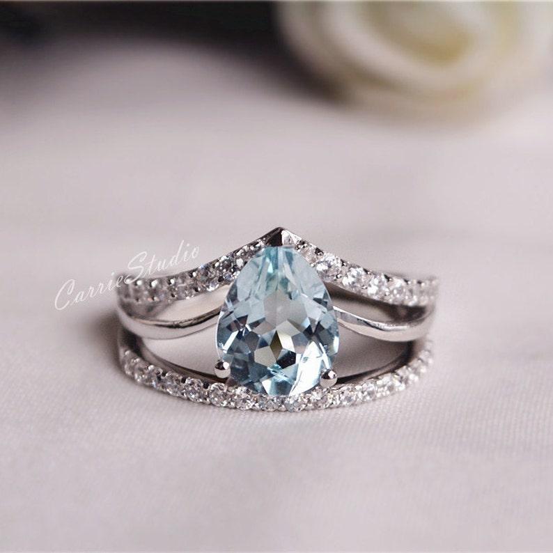 ebedd44ae4c4f Natural Aquamarine Ring Set Aquamarine Engagement Ring Set Wedding Ring Set  Anniversary Ring Promise Ring