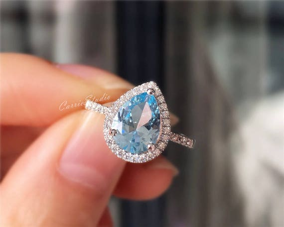 Sky Blue Topaz Ring Ring Topaz Sky Blue Topaz Gift For Her Cubic Zirconia Ring Gold Plated Ring CZ Ring Wedding Ring