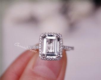 Natural White Topaz Ring Topaz Engagement Ring 925 Sterling Silver Ring Anniversary Ring Birthday Gift
