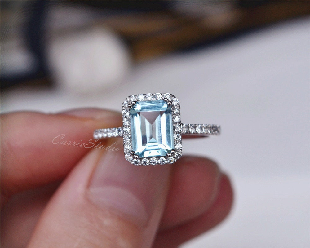 natural aquamarine ring emerald cut aquamarine engagement. Black Bedroom Furniture Sets. Home Design Ideas