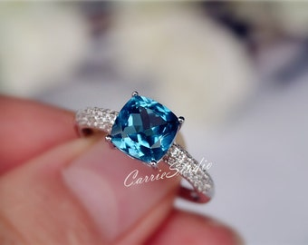 Discount! 7mm Cushion Natural London Blue Topaz Ring Topaz Engagement Ring/ Wedding Ring Sterling Silver Ring Anniversary Ring Gemstone Ring