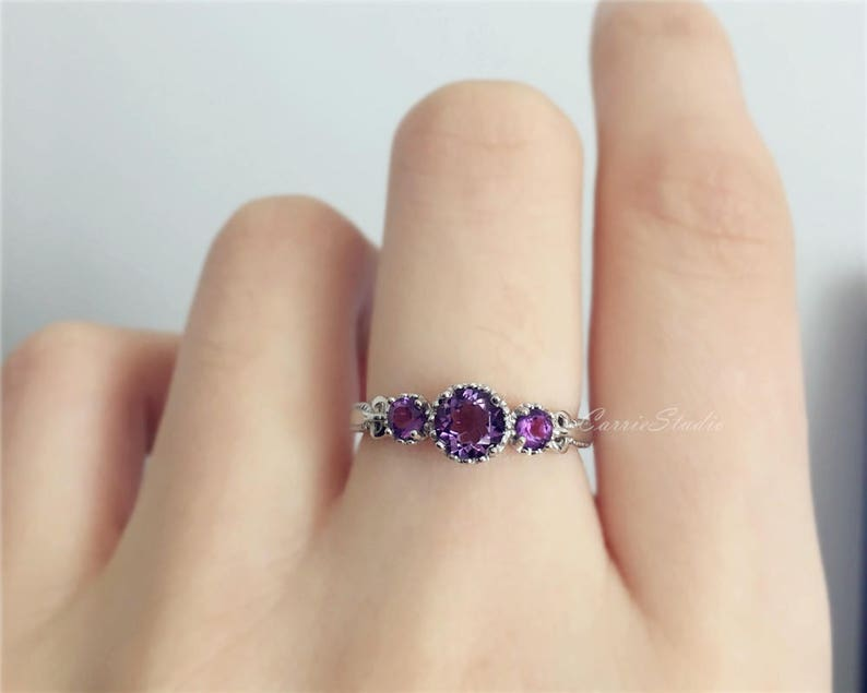 Sterling Silver Baby Ring with Amethyst Pink Sapphire or White Sapphire in Classic Dainty Band