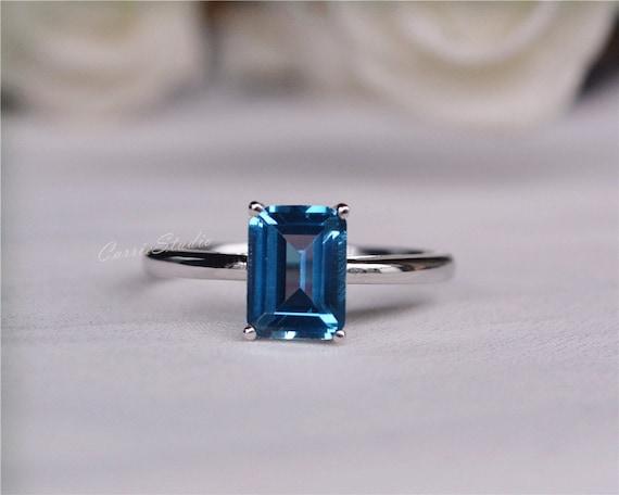 Birthday Present London Blue Topaz Ring 14k Solid White Gold Cushion Cut Topaz Engagement Ring Wedding Ring Anniversary Ring