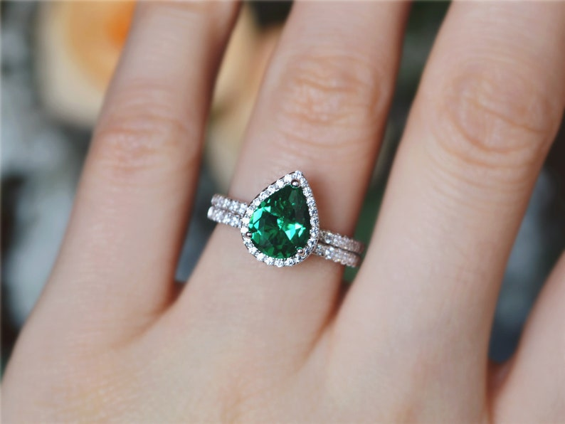7*9 mm Pear Emerald Ring Set Sterling Silver Emerald Ring Anniversary Ring Gift