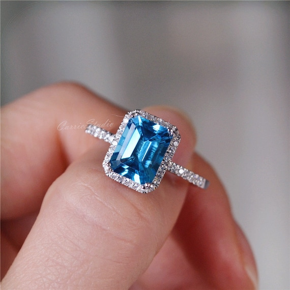 Swiss Blue Topaz CZ Ring Solitaire Made to Order