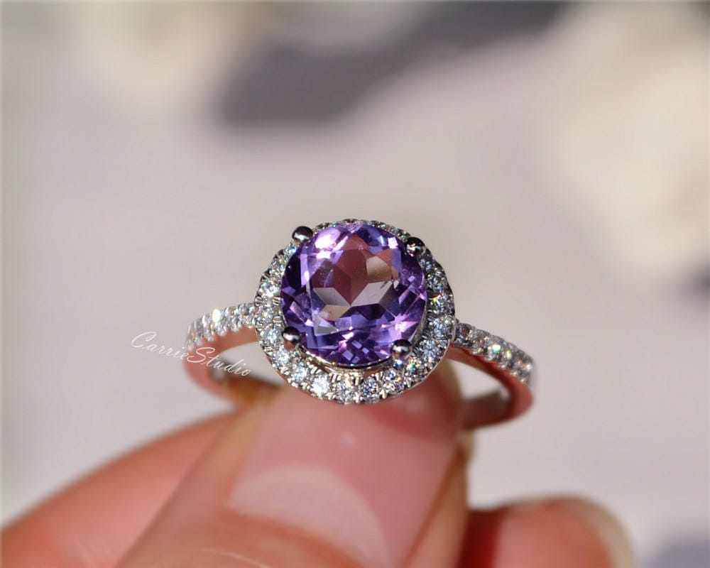 8mm Natural Amethyst Ring Amethyst Engagement Ring