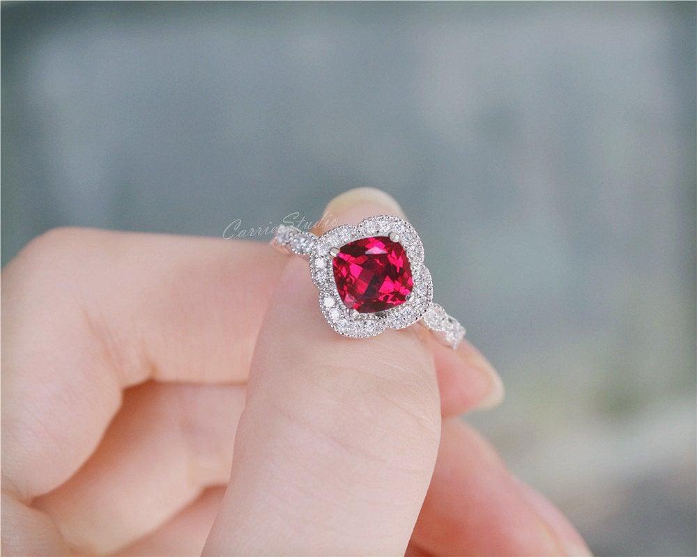 Ruby Ring Ruby Engagement Ring/ Wedding Ring Anniversary Ring   Etsy