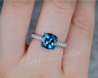 Cushion Natural London Blue Topaz Ring Topaz Engagement Ring/ Wedding Ring Promise Ring Anniversary Ring