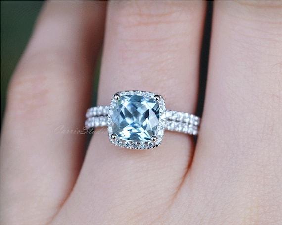 Cushion Cut Aquamarine Ring Aquamarine Engagement Ring Wedding Etsy