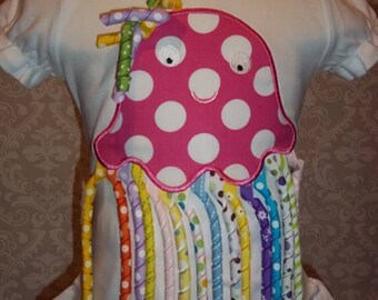 Ribbon jelly fish with monogram applique tank top for girls etsy