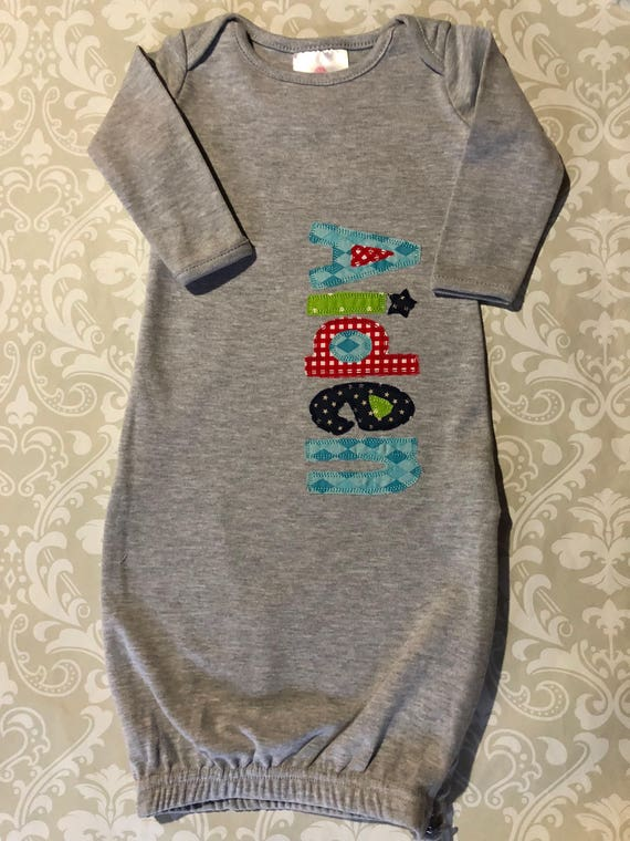 bcca2af99516 Monogram applique baby gown boy baby gowns baby shower gift