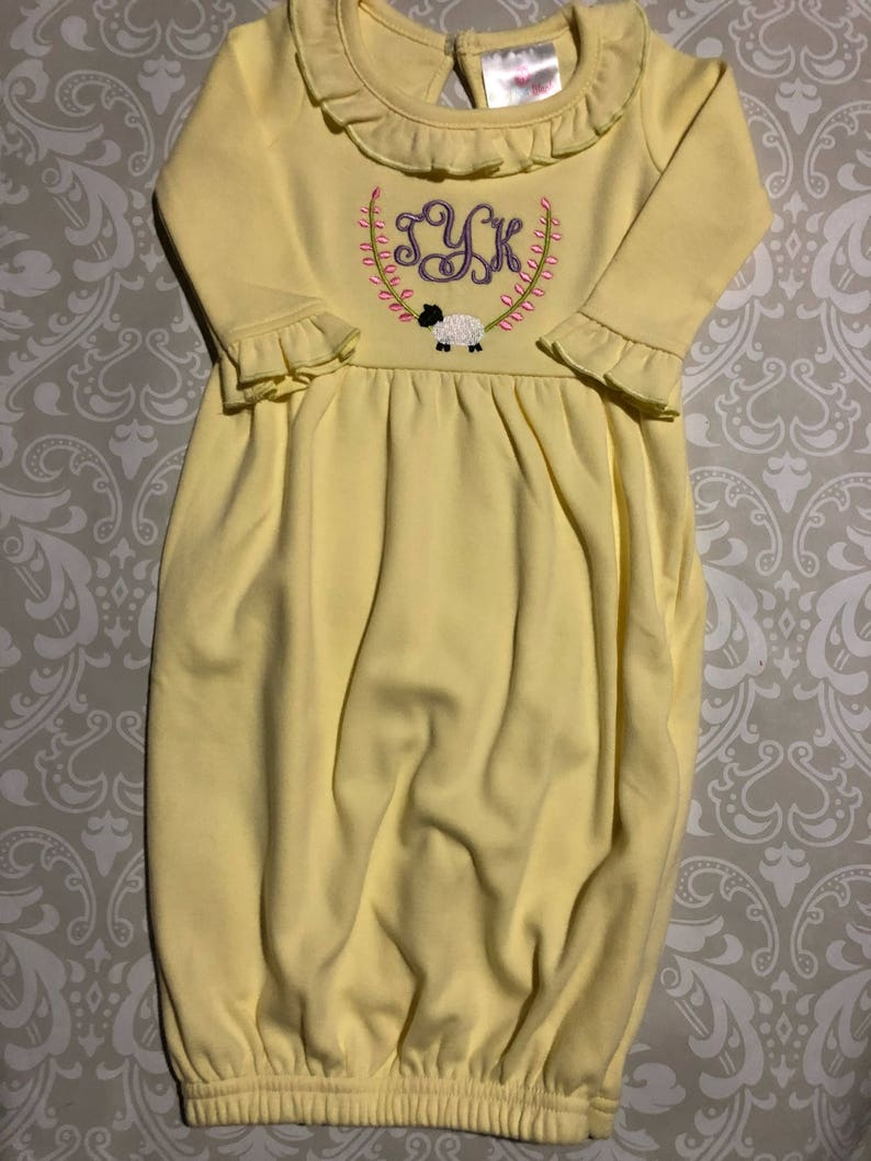 91a6b500b65d Easter monogram baby gown yellow infant gowns lamb