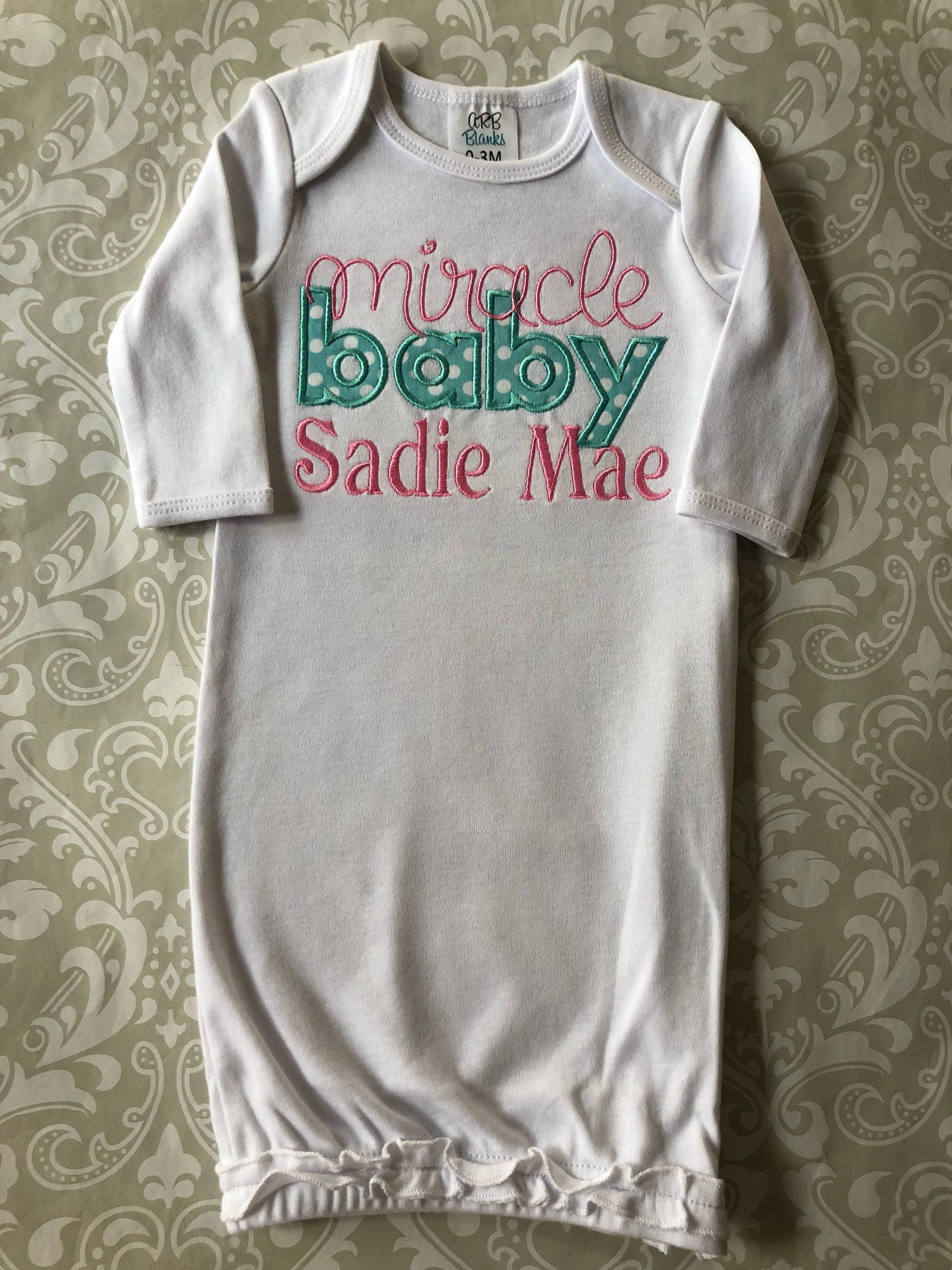 Miracle baby applique baby gown going home outfit baby   Etsy