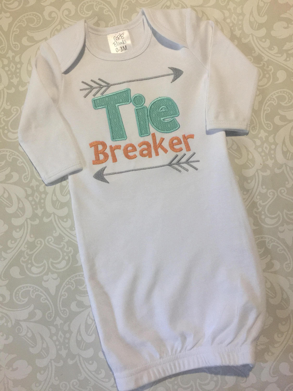 0a6fe87d382c Tie breaker baby gown applique infant gowns unisex baby