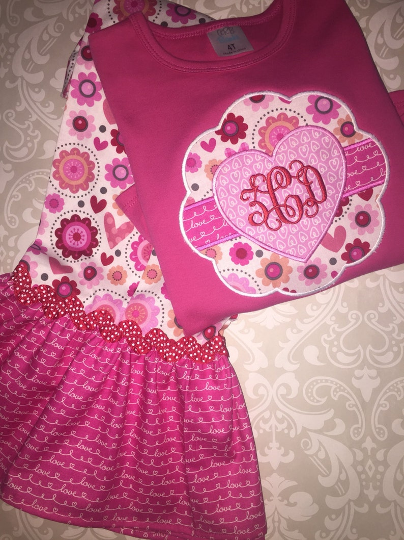 b4f772b2c73 Valentine monogram outfit for girls valentine applique ruffle