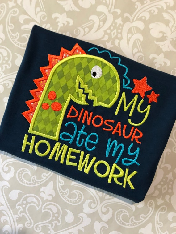 My Dinosaur Ate My Homework Applique School Shirt Boys Back Etsy