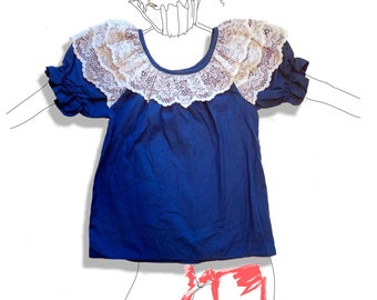 Blue and white summery ruffle lace top!