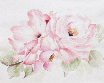 flower watercolor-8x10 Original RoseTrio painting