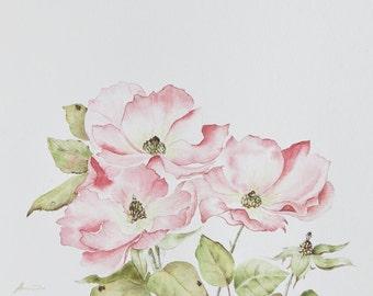 Flower watercolor - Original 8x10 rose painting