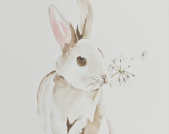 Bunny wishes 8x10 watercolor