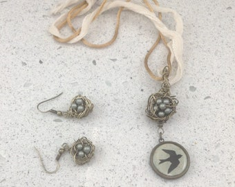 Nesting Set – Earrings & Pendant in Antiqued Brass w. Swarovski Pearl Eggs, Polymer Clay and Resin Charm